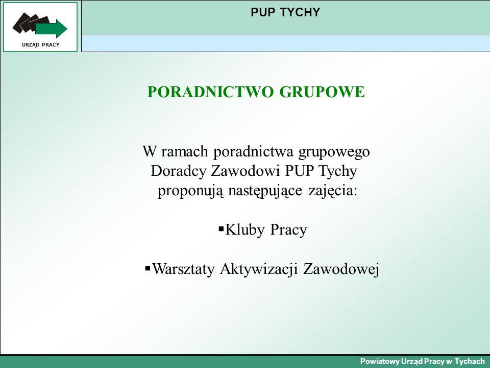 Powiatowy Urząd Pracy w Tychach URZĄD PRACY PUP TYCHY PORADNICTWO GRUPOWE W ramach poradnictwa grupowego Doradcy Zawodowi PUP Tychy proponują następuj
