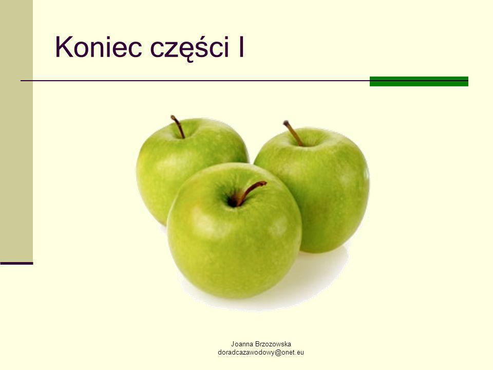 Joanna Brzozowska doradcazawodowy@onet.eu Koniec części I