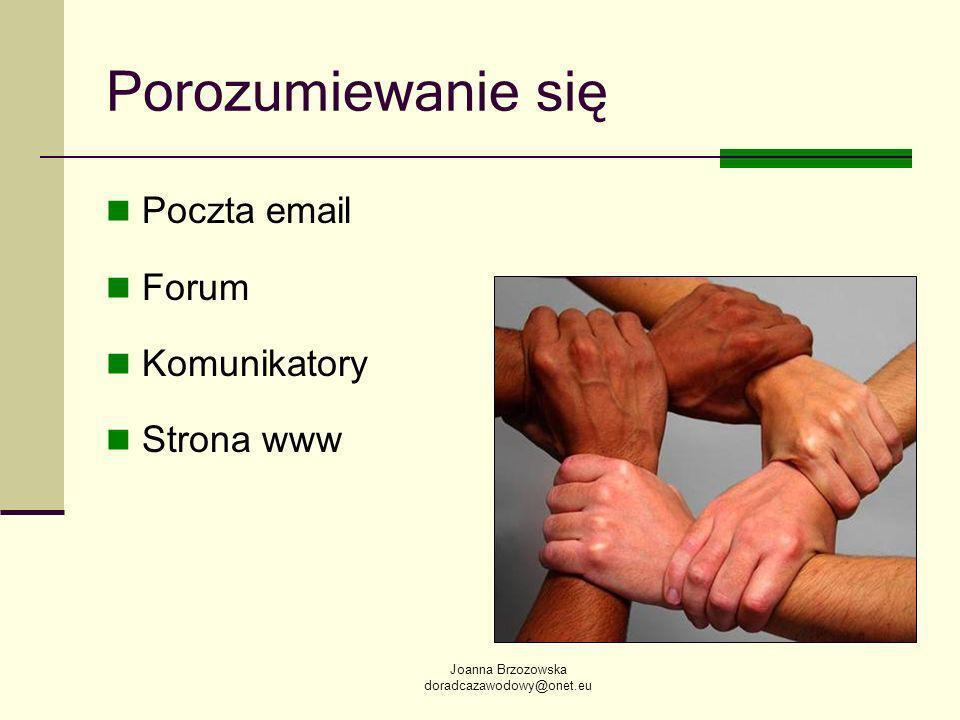 Joanna Brzozowska doradcazawodowy@onet.eu Porozumiewanie się Poczta email Forum Komunikatory Strona www