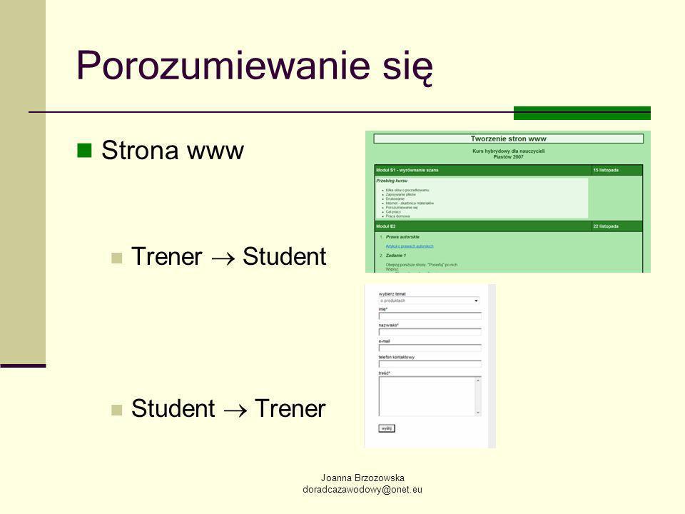 Joanna Brzozowska doradcazawodowy@onet.eu Porozumiewanie się Strona www Trener Student Student Trener