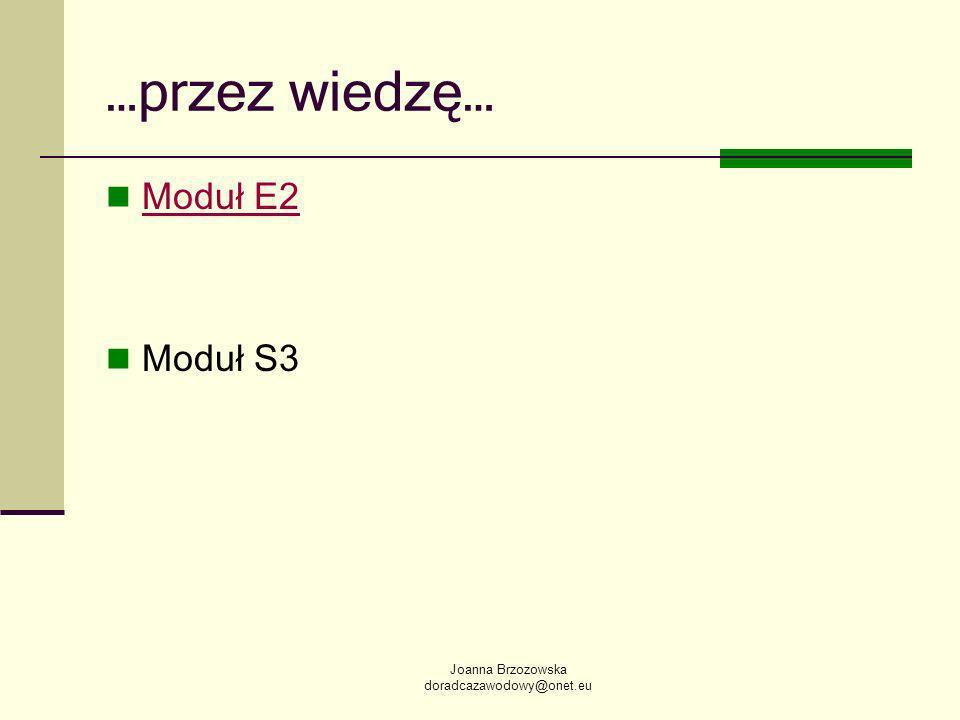 Joanna Brzozowska doradcazawodowy@onet.eu …przez wiedzę… Moduł E2 Moduł S3
