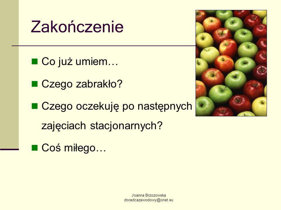 Joanna Brzozowska doradcazawodowy@onet.eu Zakończenie Co już umiem… Czego zabrakło.