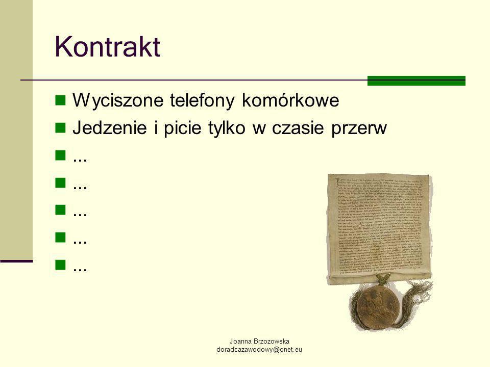 Joanna Brzozowska doradcazawodowy@onet.eu Kontrakt Wyciszone telefony komórkowe Jedzenie i picie tylko w czasie przerw...