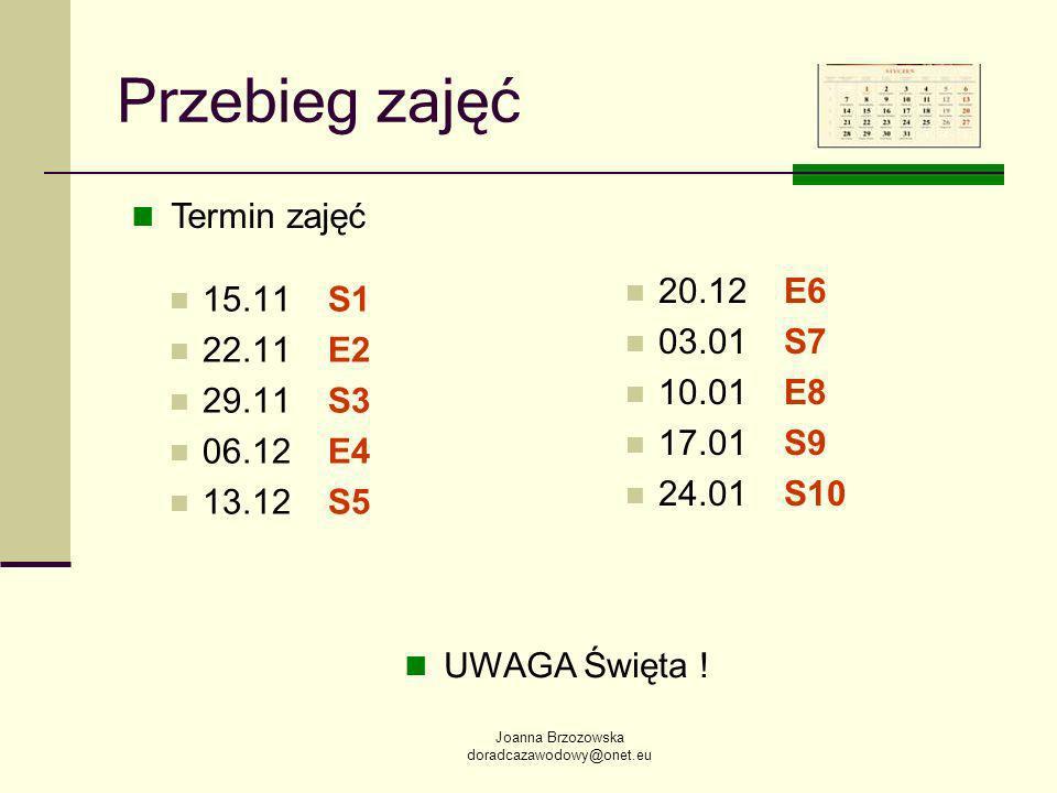 Joanna Brzozowska doradcazawodowy@onet.eu Przebieg zajęć 15.11S1 22.11E2 29.11S3 06.12E4 13.12S5 20.12E6 03.01S7 10.01E8 17.01S9 24.01S10 Termin zajęć UWAGA Święta !