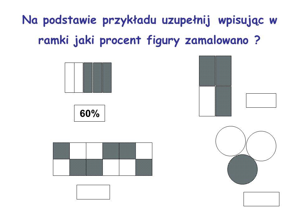 Na podstawie przykładu uzupełnij wpisując w ramki jaki procent figury zamalowano ? 60%