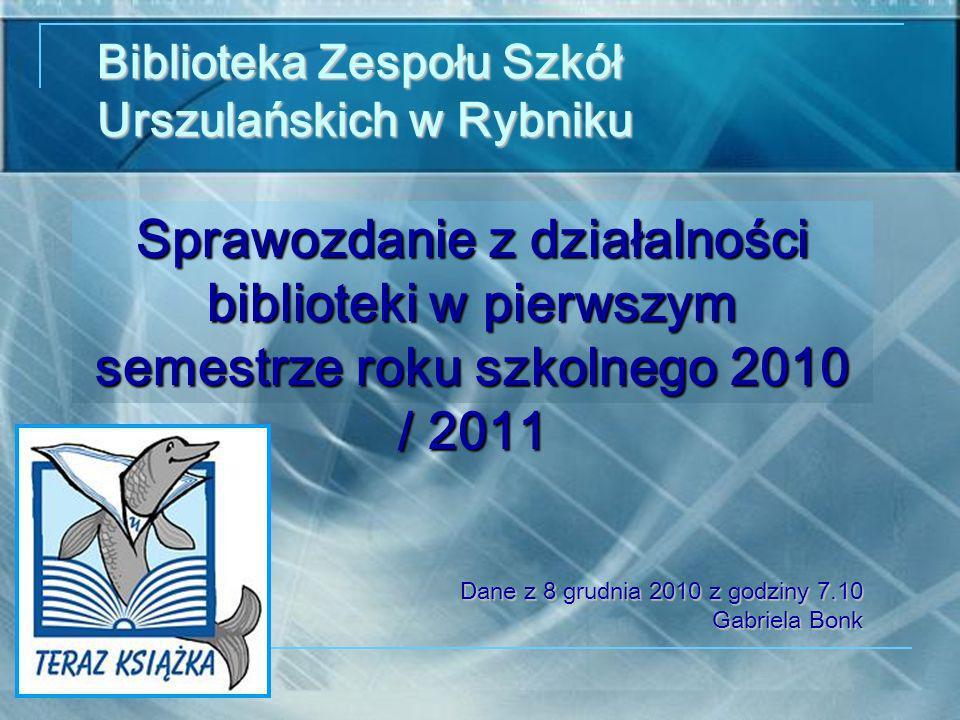 Sprawozdanie z działalności biblioteki w pierwszym semestrze roku szkolnego 2010 / 2011 Biblioteka Zespołu Szkół Urszulańskich w Rybniku Dane z 8 grudnia 2010 z godziny 7.10 Gabriela Bonk