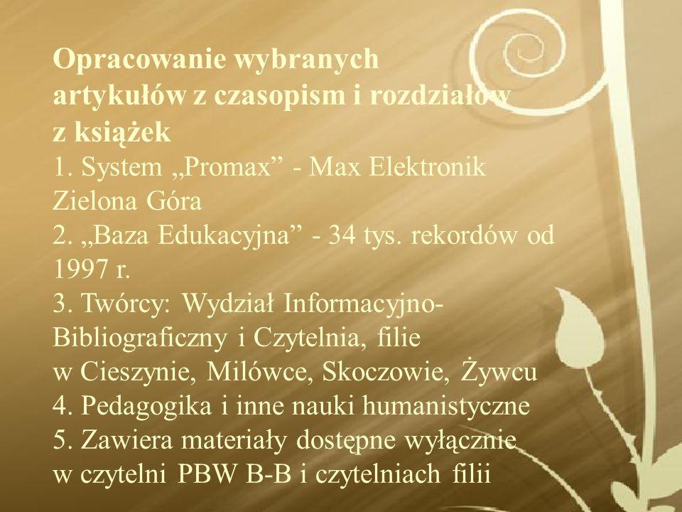 Prezentacja opracowania rozdziału z książki w systemie PROMAX
