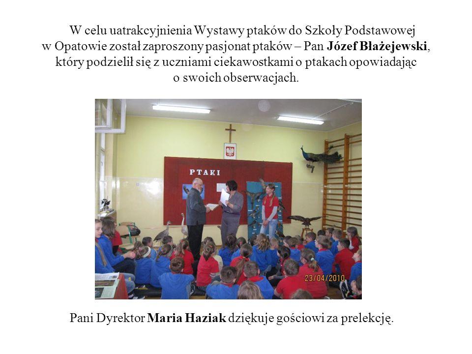 W celu uatrakcyjnienia Wystawy ptaków do Szkoły Podstawowej w Opatowie został zaproszony pasjonat ptaków – Pan Józef Błażejewski, który podzielił się