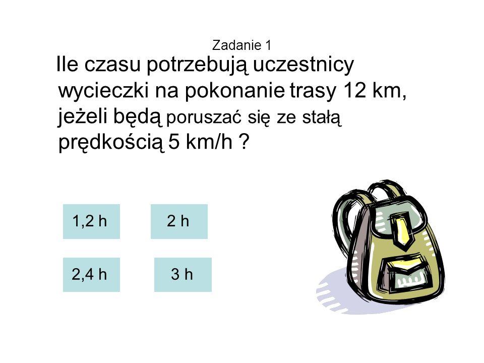 Zadanie 1 Ile czasu potrzebują uczestnicy wycieczki na pokonanie trasy 12 km, jeżeli będą poruszać się ze stałą prędkością 5 km/h .