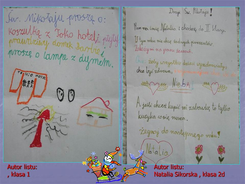Autor listu:, klasa 1 Autor listu: Natalia Sikorska, klasa 2d