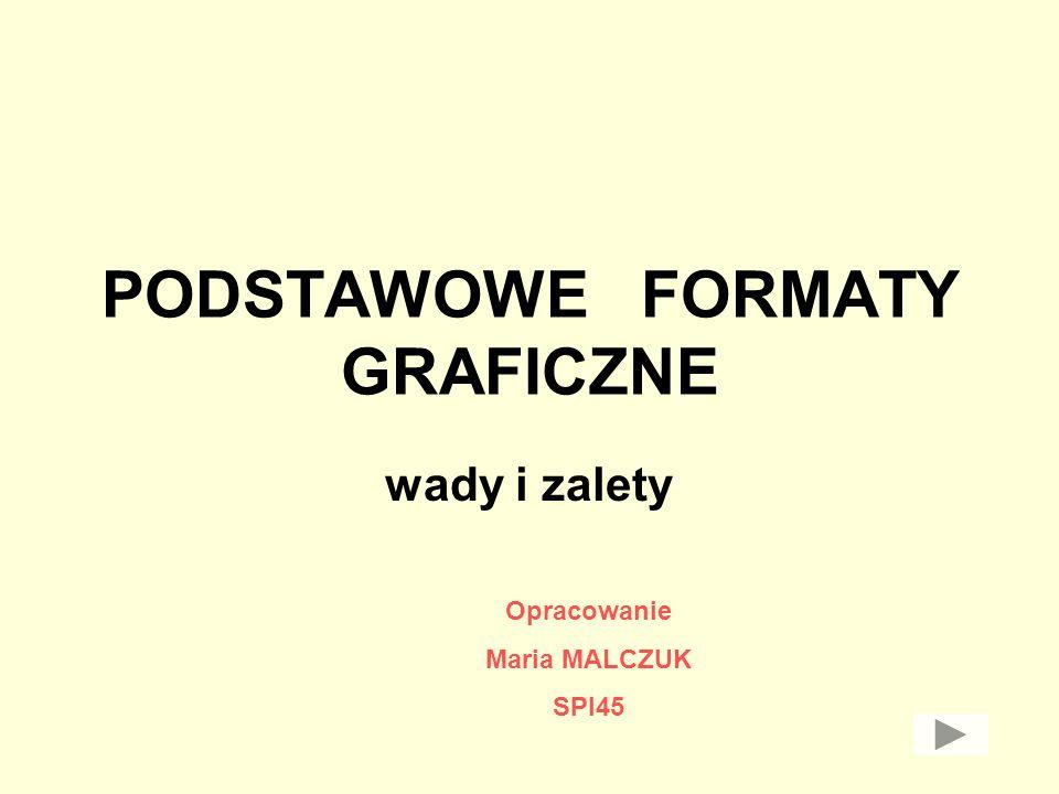 PODSTAWOWE FORMATY GRAFICZNE wady i zalety Opracowanie Maria MALCZUK SPI45