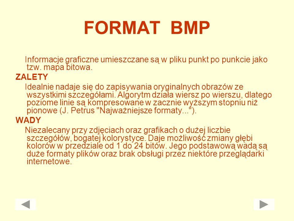 FORMAT BMP Informacje graficzne umieszczane są w pliku punkt po punkcie jako tzw. mapa bitowa. ZALETY Idealnie nadaje się do zapisywania oryginalnych