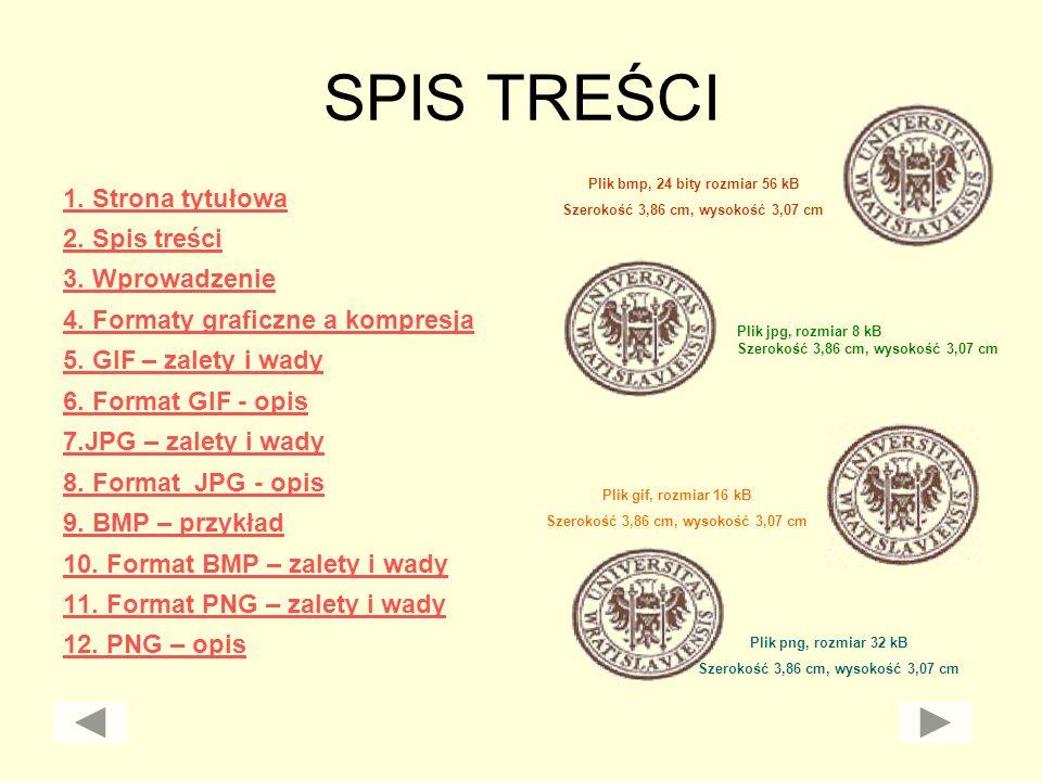 SPIS TREŚCI 1. Strona tytułowa 2. Spis treści 3. Wprowadzenie 4. Formaty graficzne a kompresja 5. GIF – zalety i wady 6. Format GIF - opis 7.JPG – zal