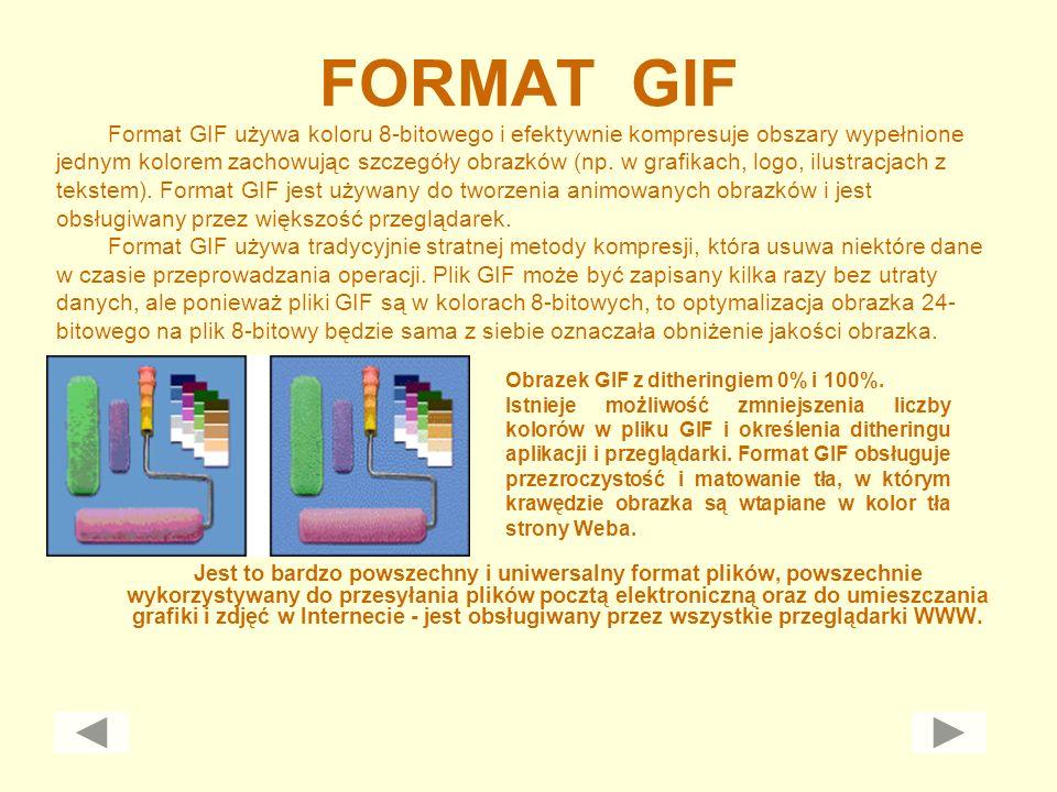 FORMAT GIF Jest to bardzo powszechny i uniwersalny format plików, powszechnie wykorzystywany do przesyłania plików pocztą elektroniczną oraz do umiesz