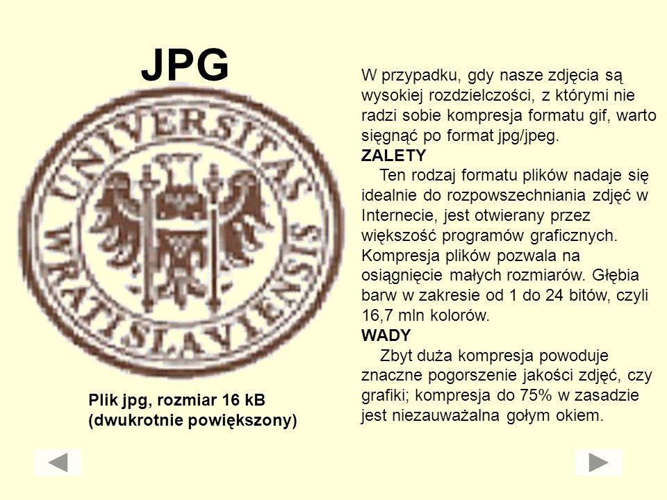 JPG W przypadku, gdy nasze zdjęcia są wysokiej rozdzielczości, z którymi nie radzi sobie kompresja formatu gif, warto sięgnąć po format jpg/jpeg. ZALE