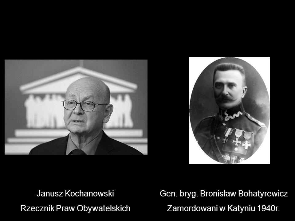 Janusz Kochanowski Rzecznik Praw Obywatelskich Gen. bryg. Bronisław Bohatyrewicz Zamordowani w Katyniu 1940r.