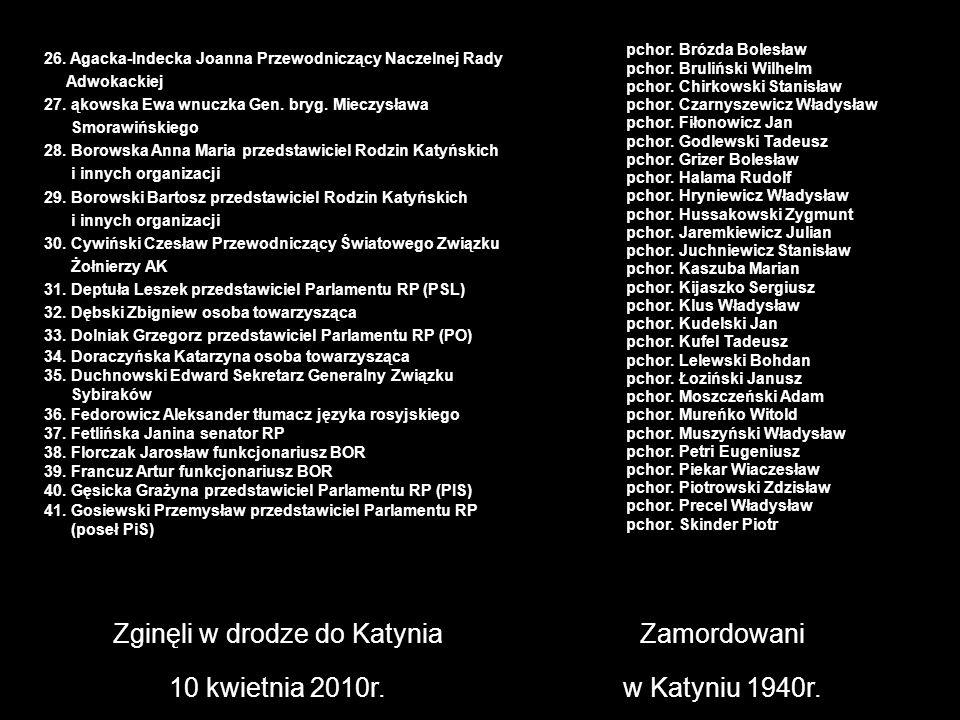 Zginęli w drodze do Katynia 10 kwietnia 2010r. Zamordowani w Katyniu 1940r. pchor. Brózda Bolesław pchor. Bruliński Wilhelm pchor. Chirkowski Stanisła