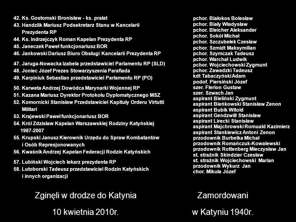 Zginęli w drodze do Katynia 10 kwietnia 2010r. Zamordowani w Katyniu 1940r. pchor. Białokos Bolesław pchor. Biały Władysław pchor. Bleicher Aleksander