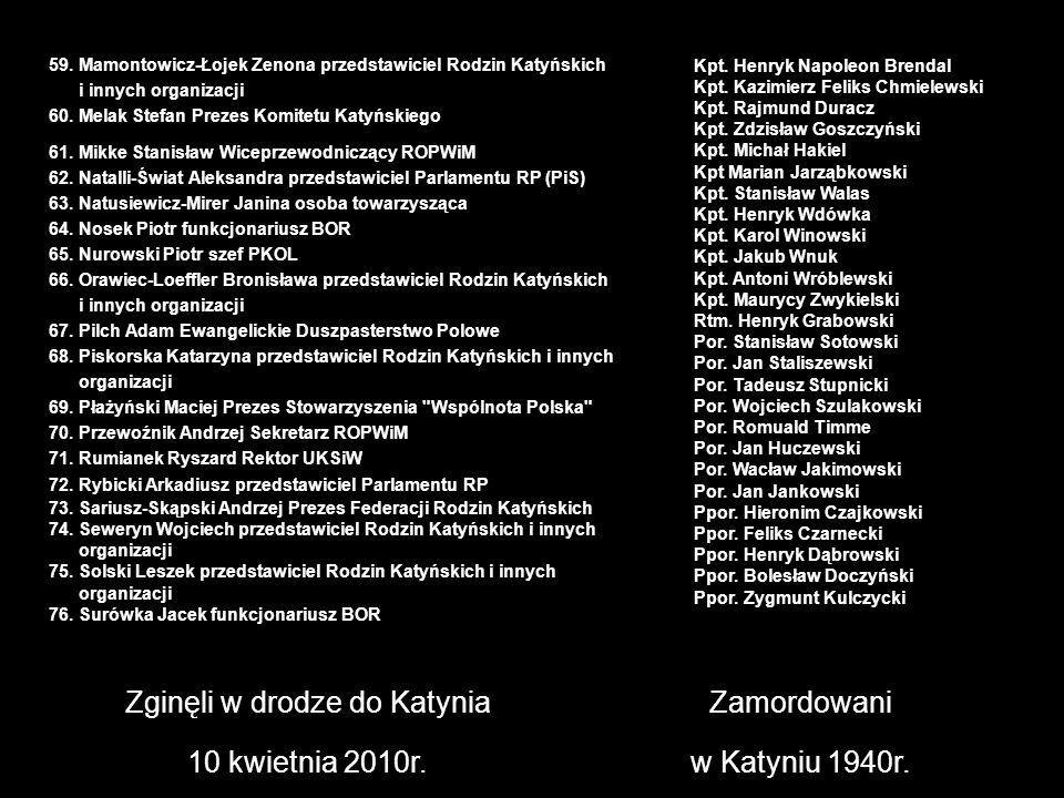 Zginęli w drodze do Katynia 10 kwietnia 2010r. Zamordowani w Katyniu 1940r. Kpt. Henryk Napoleon Brendal Kpt. Kazimierz Feliks Chmielewski Kpt. Rajmun
