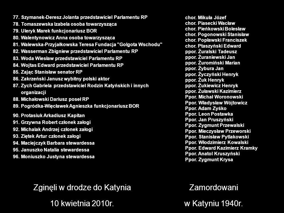 Zginęli w drodze do Katynia 10 kwietnia 2010r. Zamordowani w Katyniu 1940r. chor. Mikuła Józef chor. Piasecki Wacław chor. Pieńkowski Bolesław chor. P