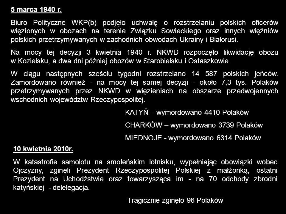 5 marca 1940 r. Biuro Polityczne WKP(b) podjęło uchwałę o rozstrzelaniu polskich oficerów więzionych w obozach na terenie Związku Sowieckiego oraz inn