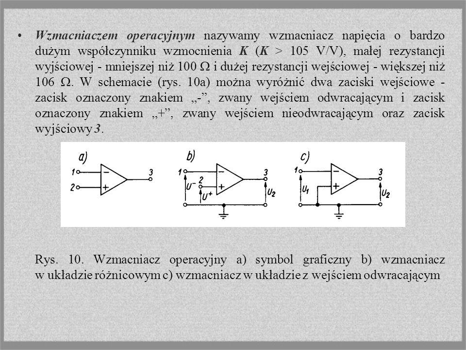 Wzmacniaczem operacyjnym nazywamy wzmacniacz napięcia o bardzo dużym współczynniku wzmocnienia K (K > 105 V/V), małej rezystancji wyjściowej - mniejsz