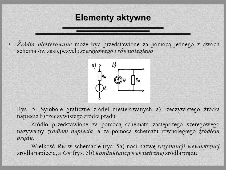 Elementy aktywne Źródło niesterowane może być przedstawione za pomocą jednego z dwóch schematów zastępczych: szeregowego i równoległego Rys. 5. Symbol