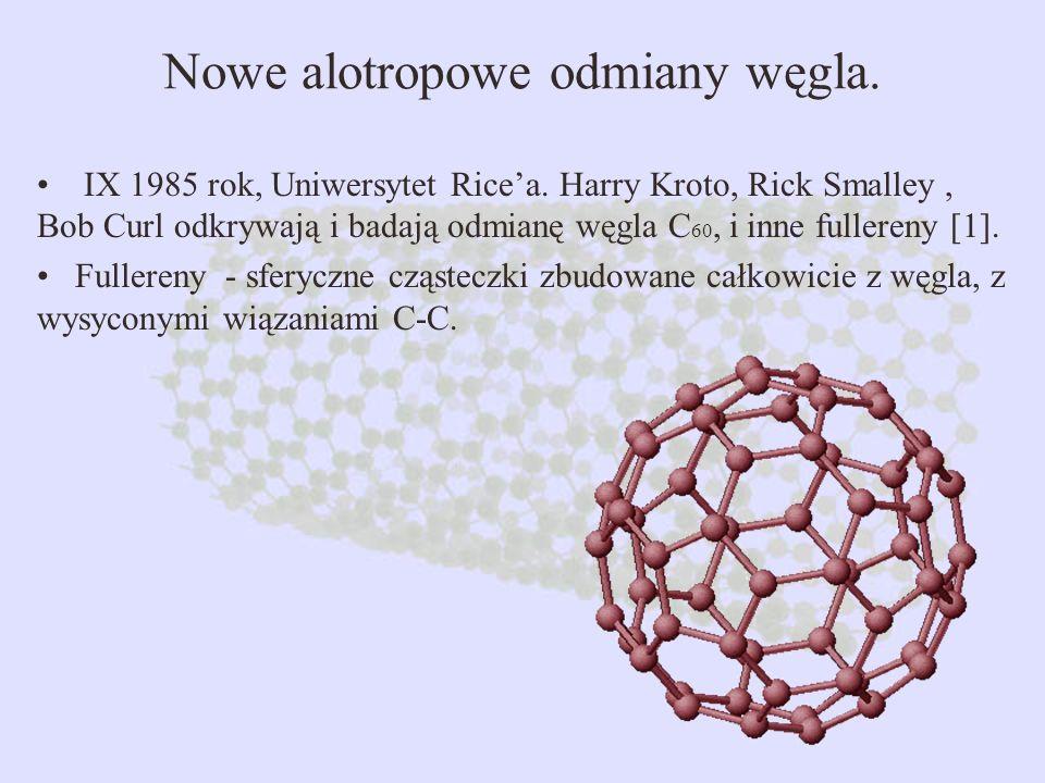 Nowe alotropowe odmiany węgla. IX 1985 rok, Uniwersytet Ricea.Harry Kroto, Rick Smalley, Bob Curl odkrywają i badają odmianę węgla C 60, i inne fuller