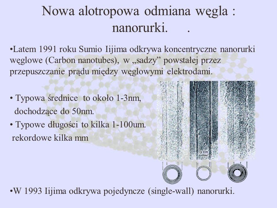 Nowa alotropowa odmiana węgla : nanorurki.. Latem 1991 roku Sumio Iijima odkrywa koncentryczne nanorurki węglowe (Carbon nanotubes), w sadzy powstałej