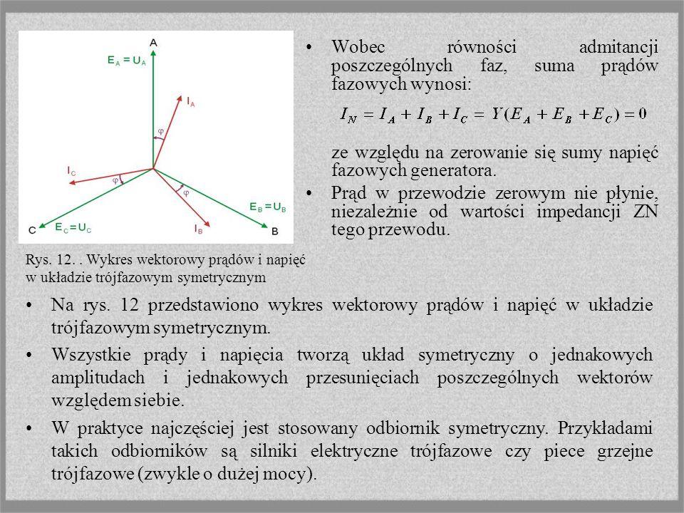Wobec równości admitancji poszczególnych faz, suma prądów fazowych wynosi: ze względu na zerowanie się sumy napięć fazowych generatora. Prąd w przewod