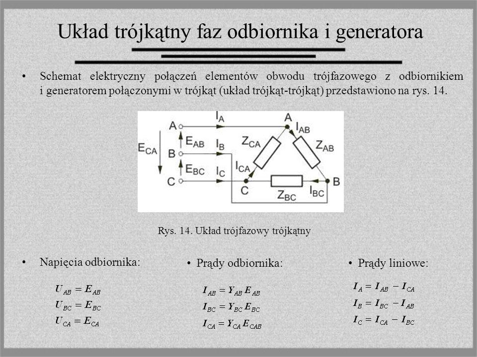Układ trójkątny faz odbiornika i generatora Schemat elektryczny połączeń elementów obwodu trójfazowego z odbiornikiem i generatorem połączonymi w trój