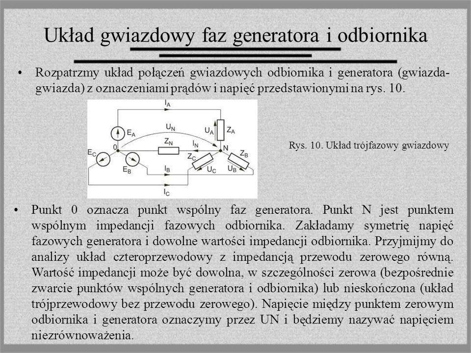 Układ gwiazdowy faz generatora i odbiornika Rozpatrzmy układ połączeń gwiazdowych odbiornika i generatora (gwiazda- gwiazda) z oznaczeniami prądów i n