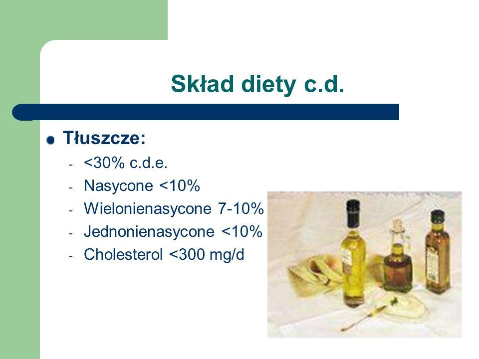 Skład diety c.d. Tłuszcze: - <30% c.d.e. - Nasycone <10% - Wielonienasycone 7-10% - Jednonienasycone <10% - Cholesterol <300 mg/d