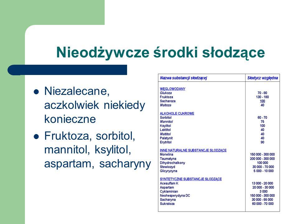 Nieodżywcze środki słodzące Niezalecane, aczkolwiek niekiedy konieczne Fruktoza, sorbitol, mannitol, ksylitol, aspartam, sacharyny