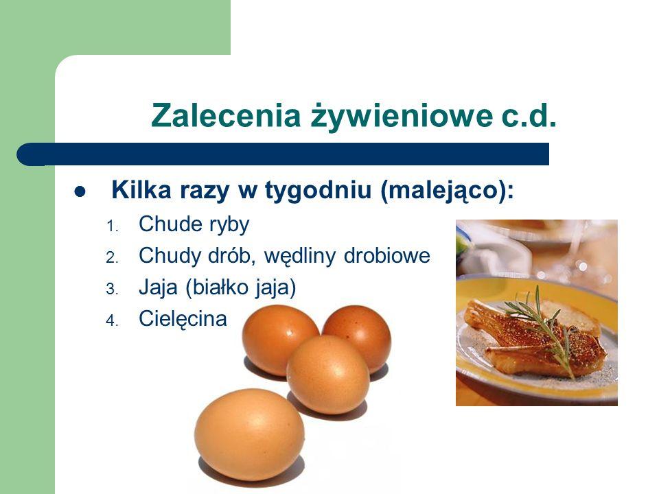 Zalecenia żywieniowe c.d. Kilka razy w tygodniu (malejąco): 1. Chude ryby 2. Chudy drób, wędliny drobiowe 3. Jaja (białko jaja) 4. Cielęcina