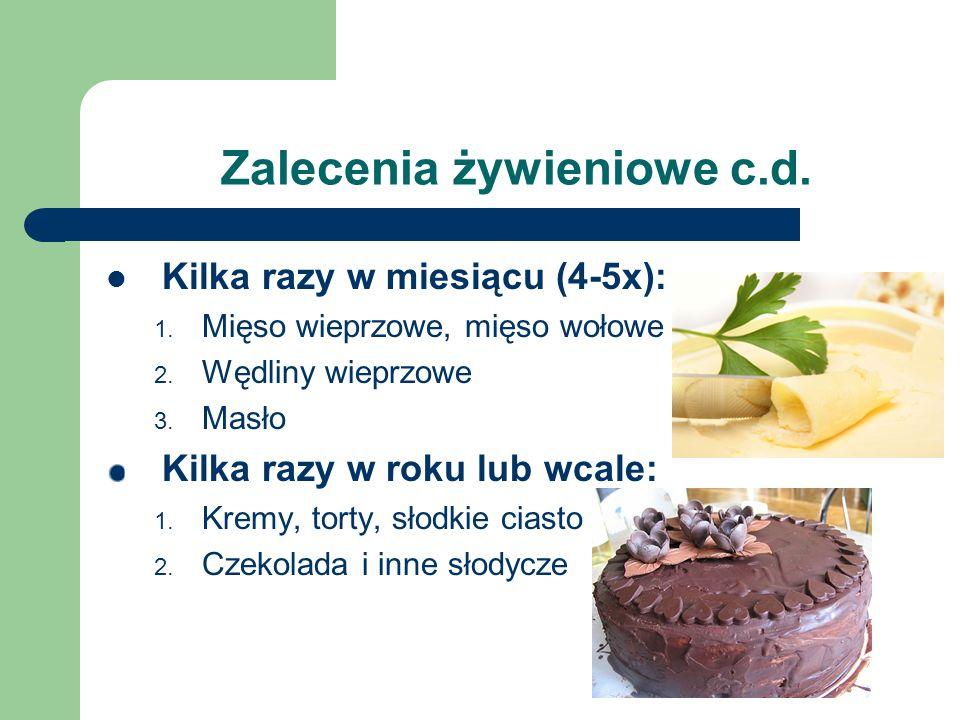 Zalecenia żywieniowe c.d. Kilka razy w miesiącu (4-5x): 1. Mięso wieprzowe, mięso wołowe 2. Wędliny wieprzowe 3. Masło Kilka razy w roku lub wcale: 1.