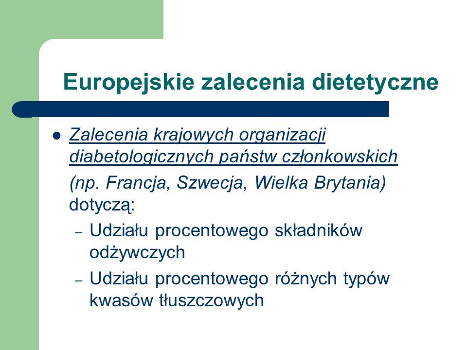 Europejskie zalecenia dietetyczne Zalecenia krajowych organizacji diabetologicznych państw członkowskich (np. Francja, Szwecja, Wielka Brytania) dotyc