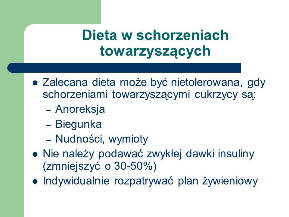 Dieta w schorzeniach towarzyszących Zalecana dieta może być nietolerowana, gdy schorzeniami towarzyszącymi cukrzycy są: – Anoreksja – Biegunka – Nudno