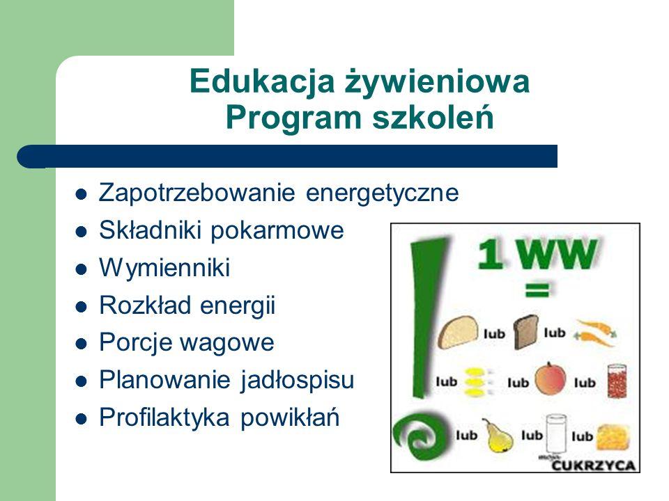 Edukacja żywieniowa Program szkoleń Zapotrzebowanie energetyczne Składniki pokarmowe Wymienniki Rozkład energii Porcje wagowe Planowanie jadłospisu Pr