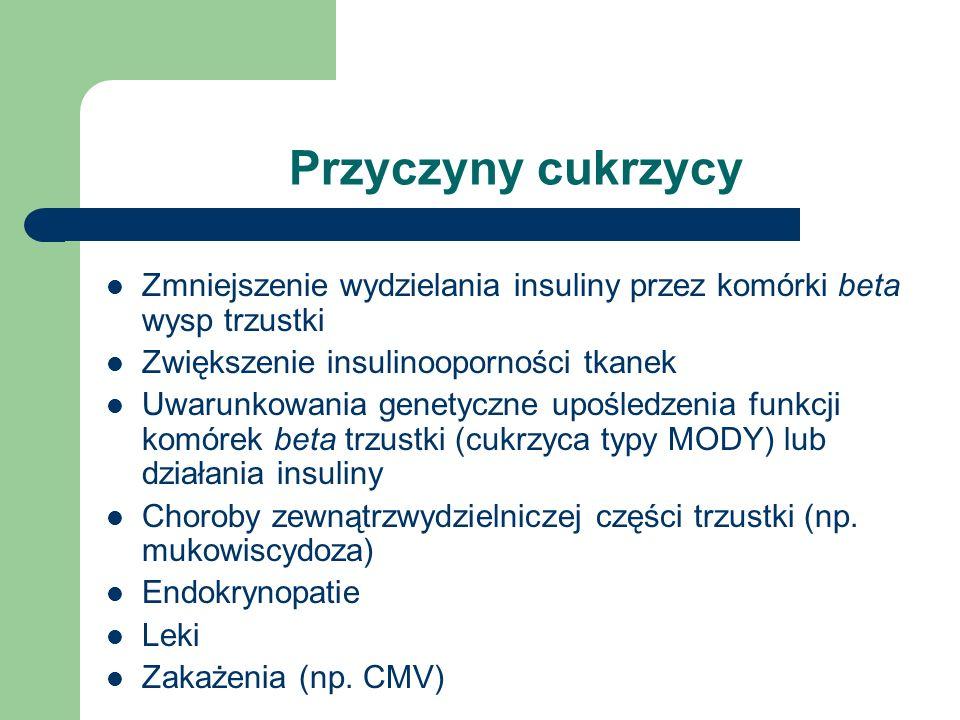 Epidemiologia Zasięg choroby przekracza 1% ogółu społeczeństwa Zwiększa się we wszystkich grupach wiekowych 50-60% przypadków to cukrzyca znana, pozostałe – cukrzyca nieznana (nierozpoznana) Zapadalność na cukrzyce w Polsce (na 100000 osób) – Typu I >9 – Typu II 200 – Innego typu 3,6