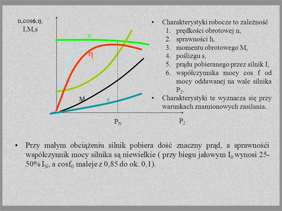 CHARAKTERYSTYKI Właściwości ruchowe silników przedstawia się zazwyczaj w postaci: charakterystyki mechanicznej charakterystyki roboczej. Charakterysty