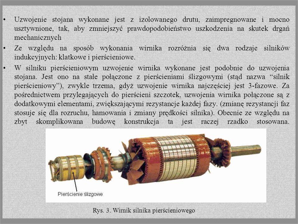 Silnik indukcyjny składa się z dwóch zasadniczych części: nieruchomego stojana i ruchomego (wirującego) wirnika. Na wewnętrznej stronie rdzenia stojan