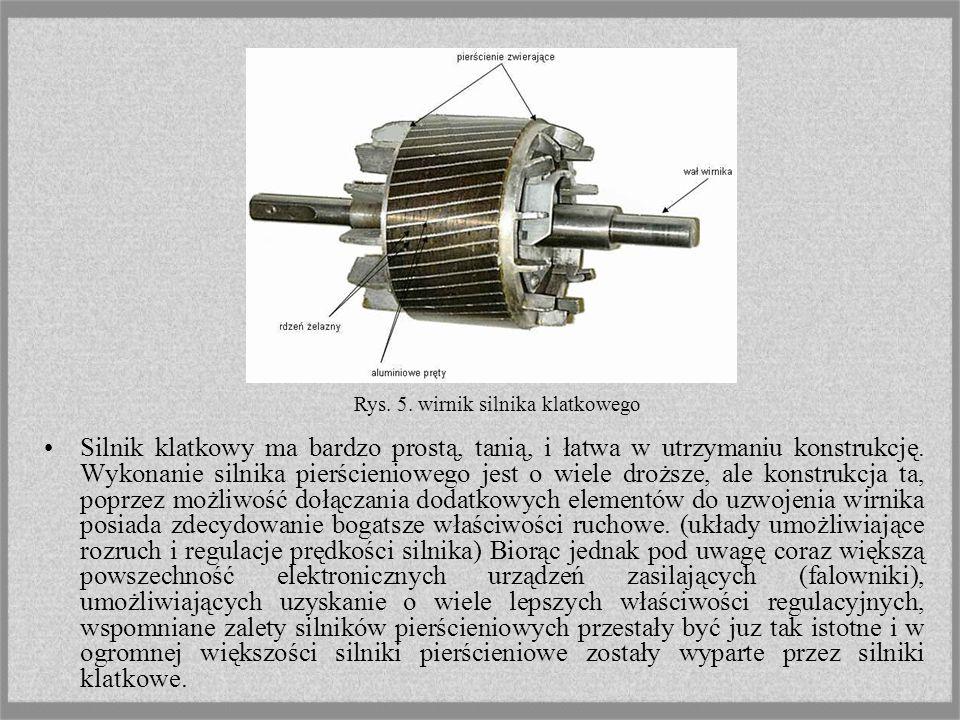 W silniku indukcyjnym klatkowym obwód elektryczny wirnika jest wykonany z nieizolowanych prętów, połączonych po obu stronach wirnika pierścieniami zwi