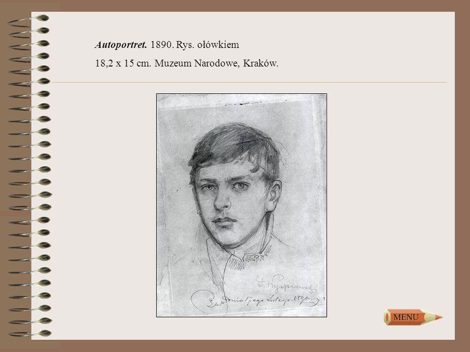 Autoportret. 1890. Rys. ołówkiem 18,2 x 15 cm. Muzeum Narodowe, Kraków.