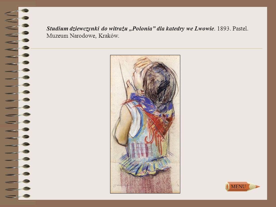 Studium dziewczynki do witrażu Polonia dla katedry we Lwowie. 1893. Pastel. Muzeum Narodowe, Kraków.