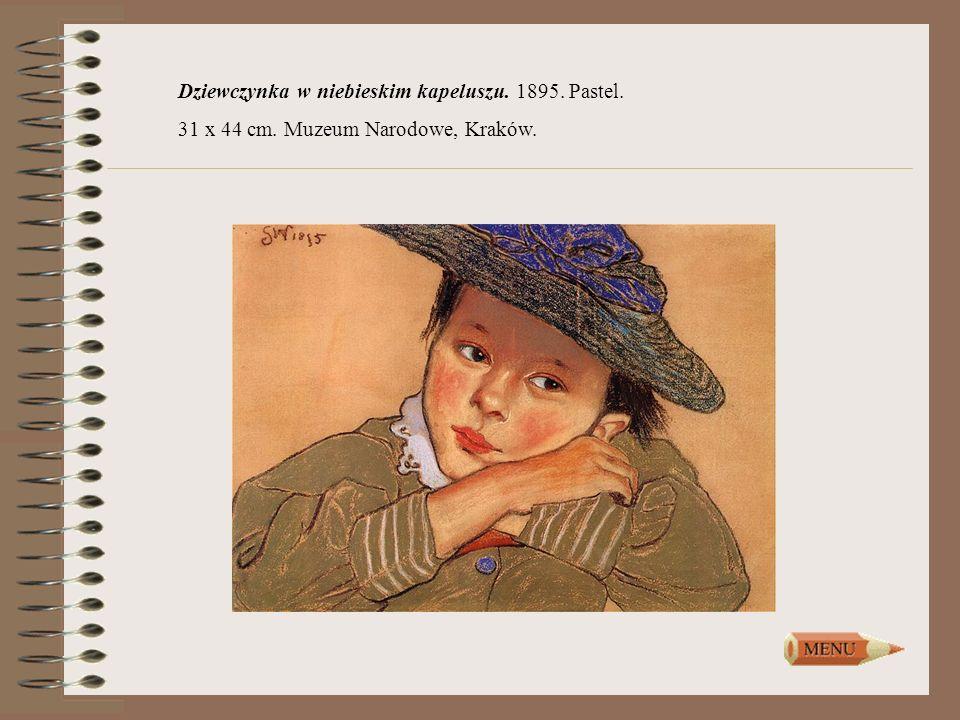 Dziewczynka w niebieskim kapeluszu. 1895. Pastel. 31 x 44 cm. Muzeum Narodowe, Kraków.