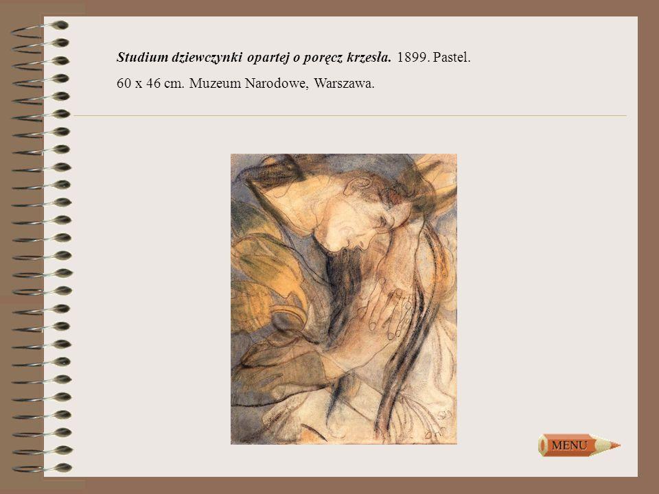Studium dziewczynki opartej o poręcz krzesła. 1899. Pastel. 60 x 46 cm. Muzeum Narodowe, Warszawa.