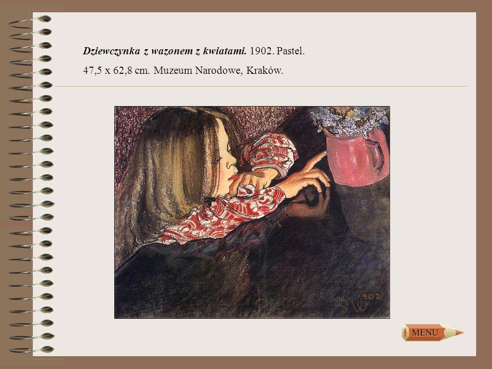Dziewczynka z wazonem z kwiatami. 1902. Pastel. 47,5 x 62,8 cm. Muzeum Narodowe, Kraków.