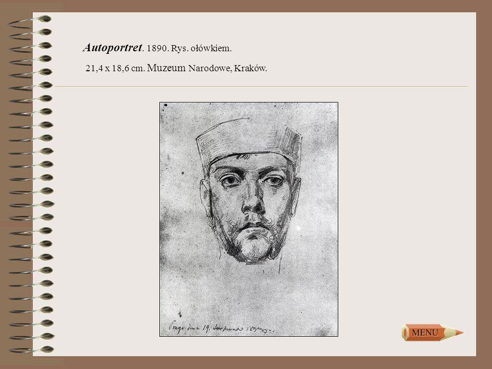Autoportret. 1890. Rys. ołówkiem. 21,4 x 18,6 cm. Muzeum Narodowe, Kraków.