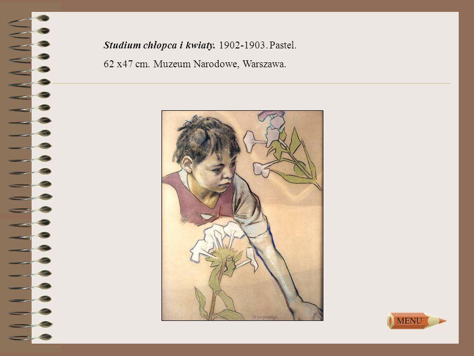 Studium chłopca i kwiaty. 1902-1903. Pastel. 62 x47 cm. Muzeum Narodowe, Warszawa.